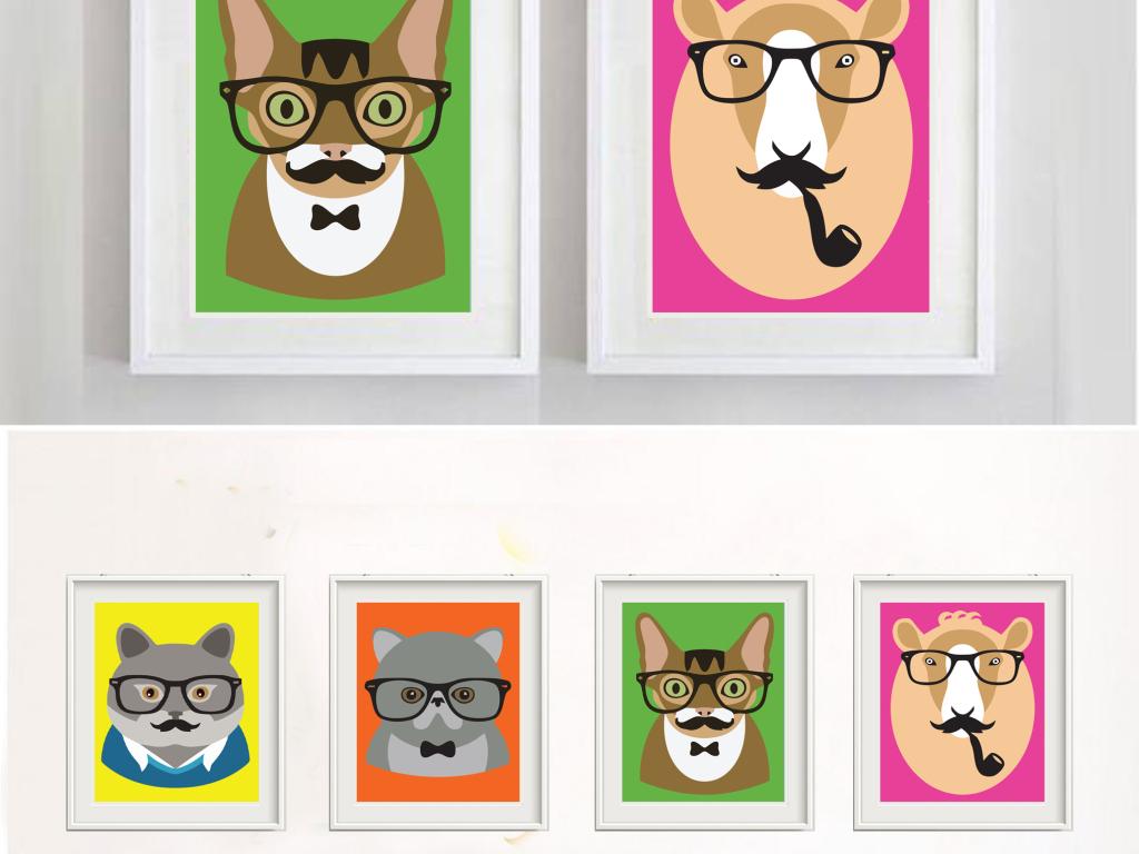 卡通手绘动物装饰画清新简约挂画