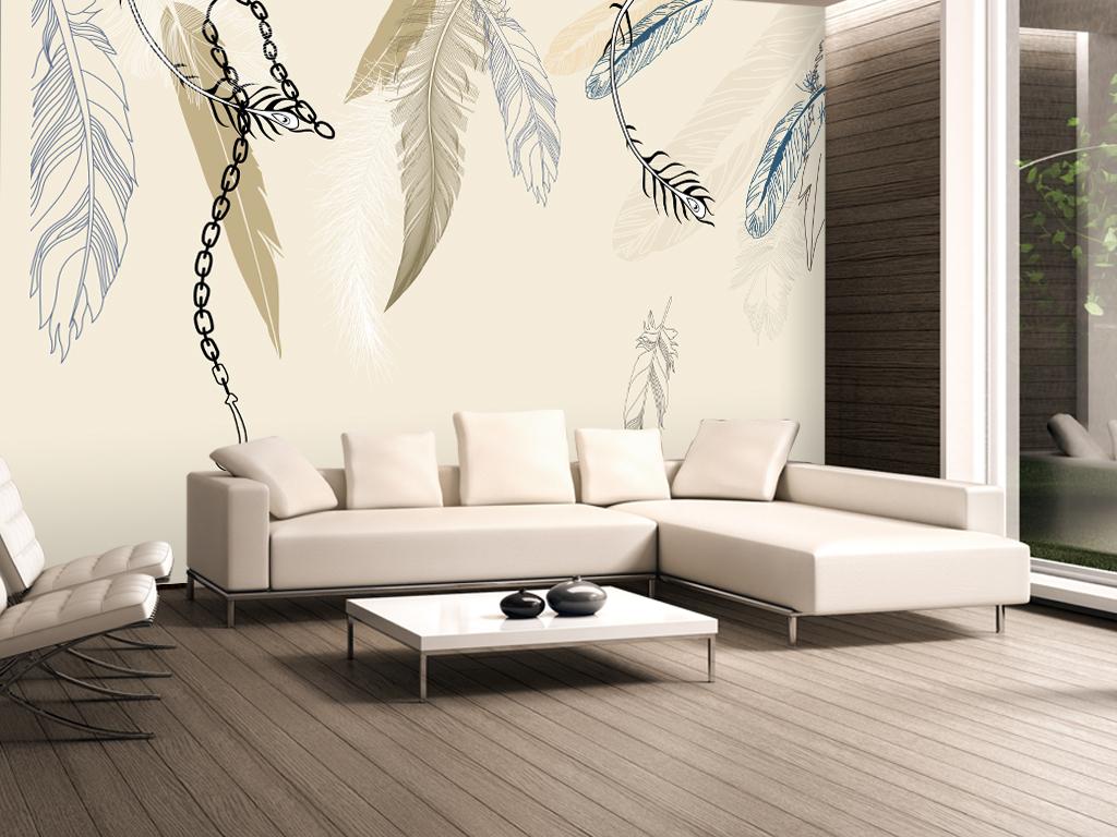 现代简约欧式手绘羽毛壁画电视背景墙