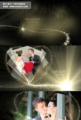 华丽粒子光束勾勒爱心浪漫婚礼相册视频模板