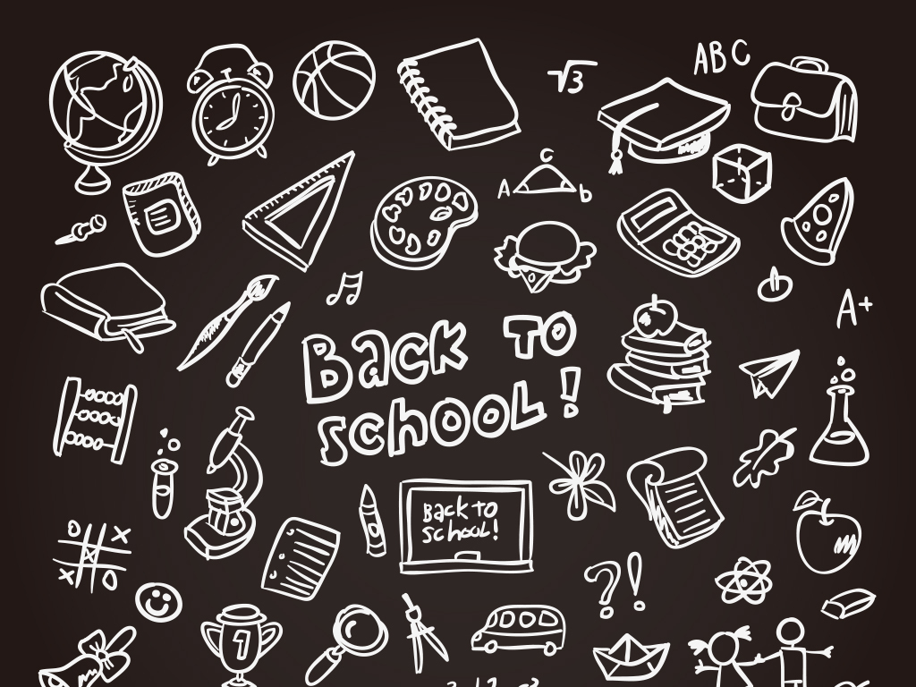 设计元素手绘标签校园青春卡通背景矢量图