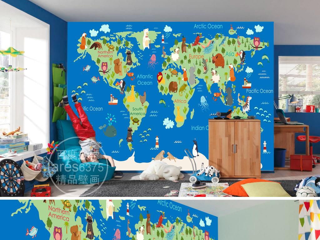 海鸥幼儿教育启蒙儿童房企鹅卡通中国地图地图卡通