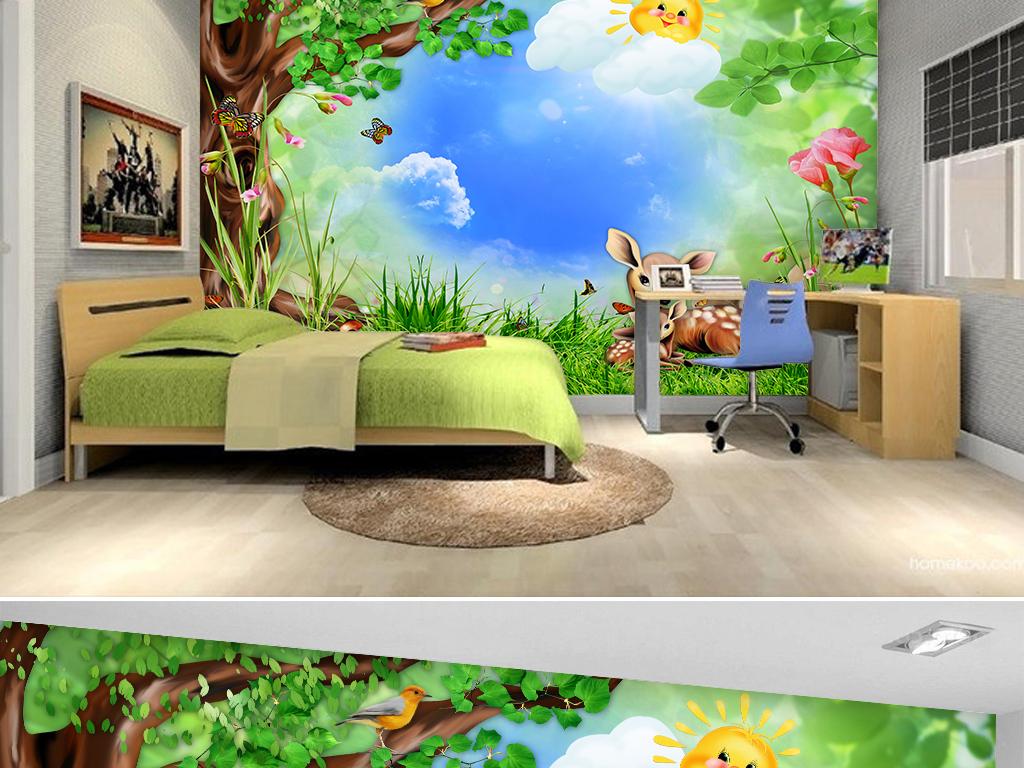 提供精品流行卡通森林动物儿童房壁画背景墙素材下载