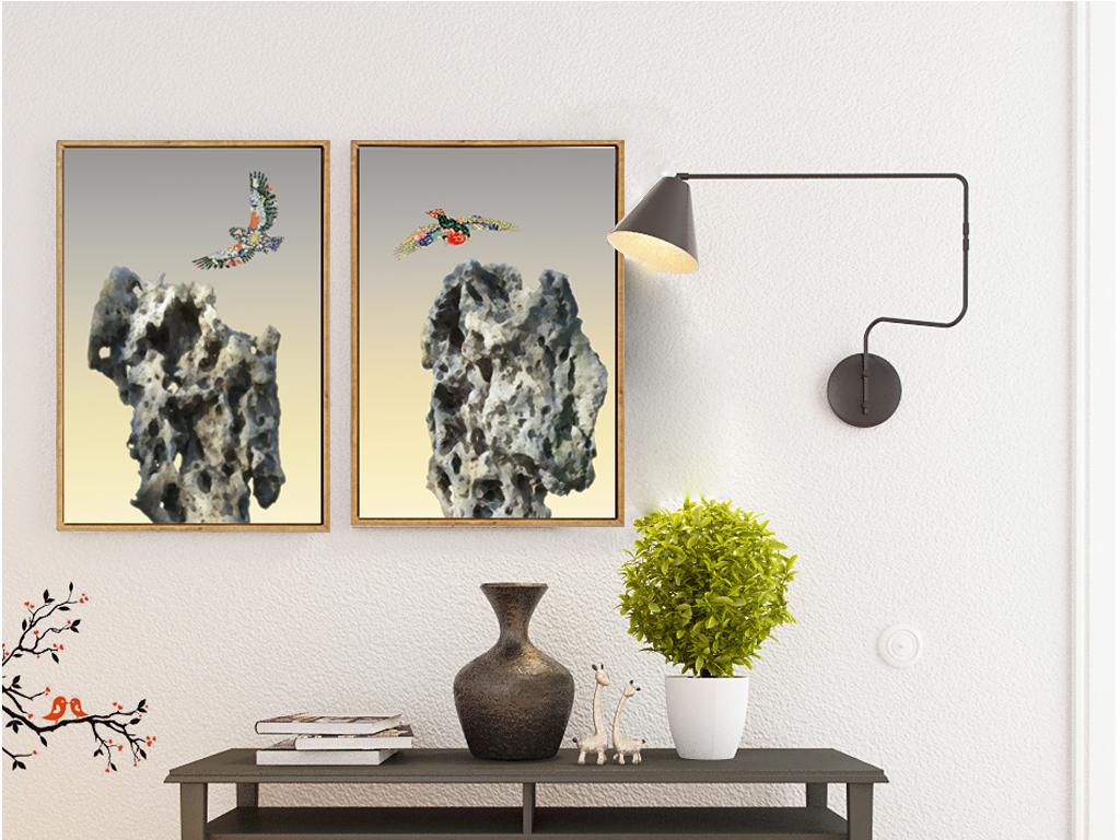 新中式玄关装饰画太湖石画中式客厅装饰画图片