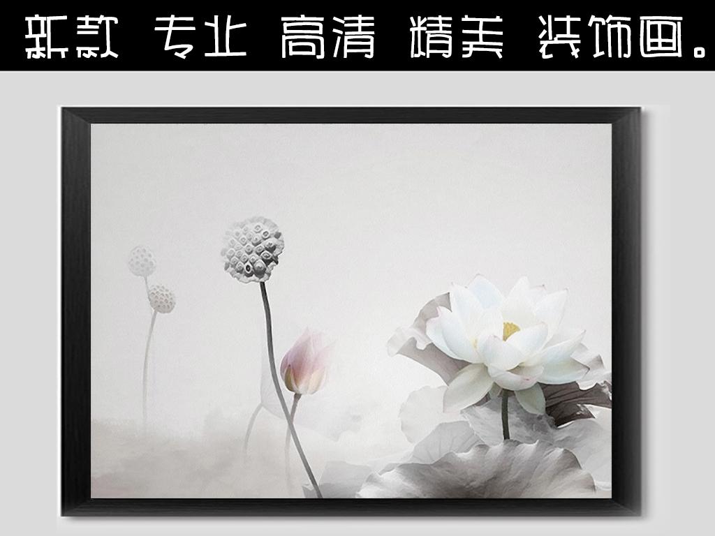 水墨画艺术油画荷花荷韵中国风画芯禅意中国风中式玄关花开富贵欧式