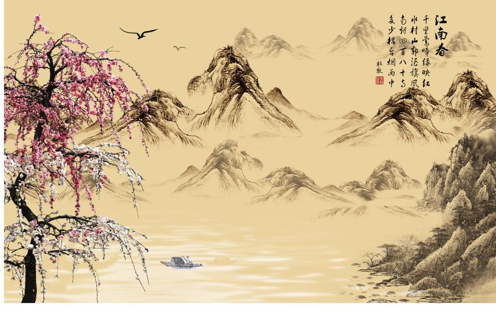 背景墙 装饰画 电视背景墙 电视背景墙 > 江南春背景墙