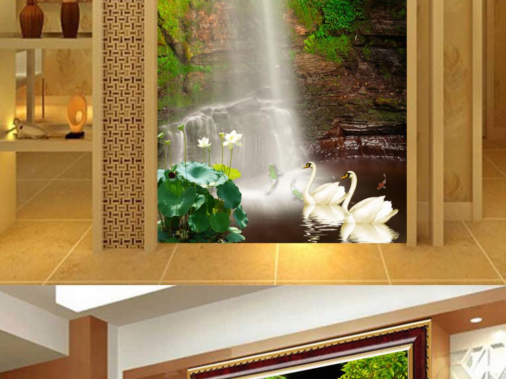 大自然山水花鸟动态-自然唯美瀑布天鹅荷花玄关背景墙