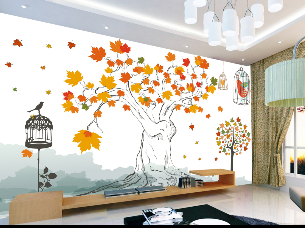 墙贴壁纸装饰贴画温馨清新抽象枫叶树