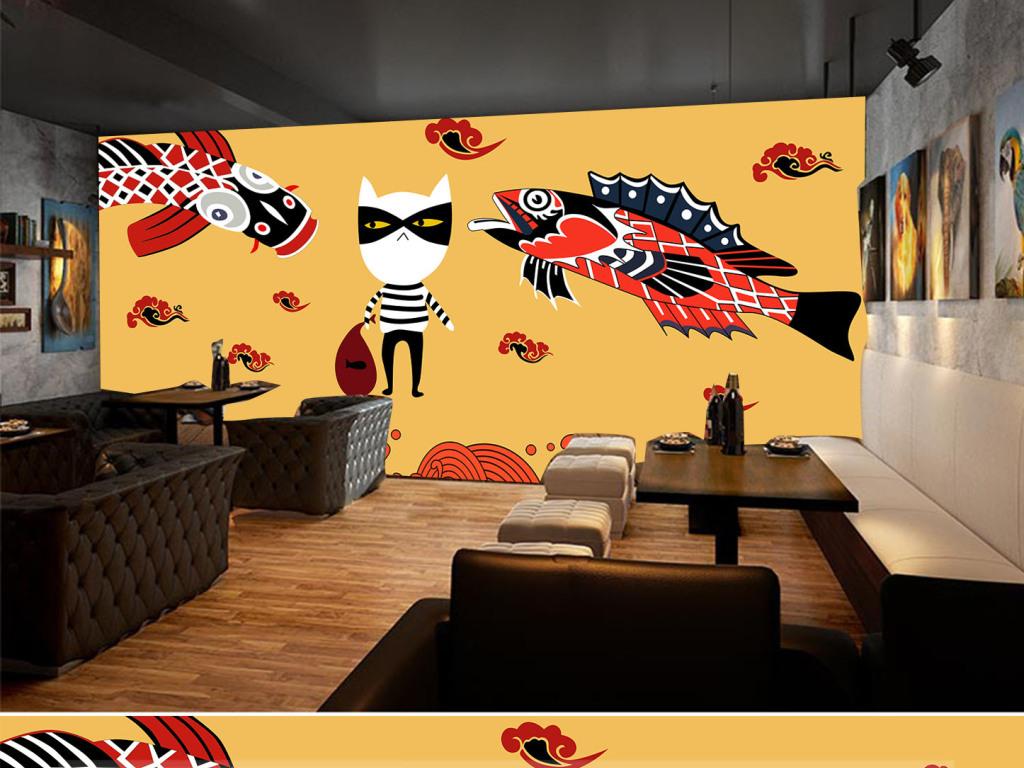 手绘炭火烤鱼餐厅背景墙