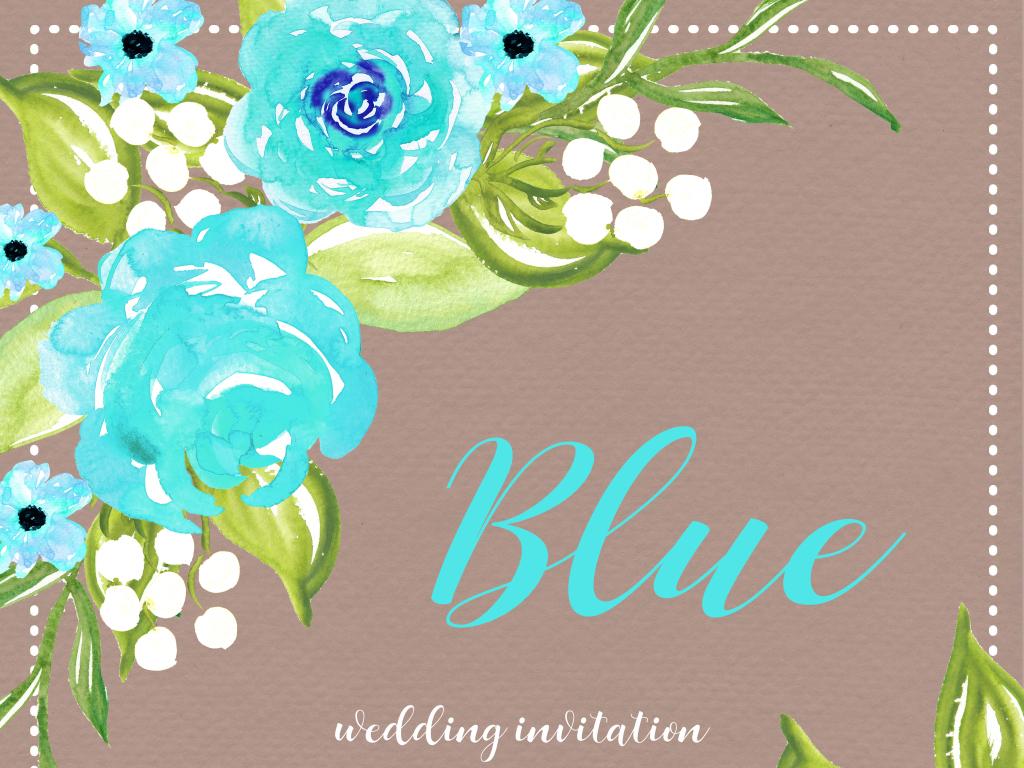 蓝色森系唯美手绘水彩花朵婚礼邀请卡片