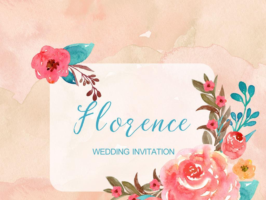 红色森系唯美手绘水彩花卉婚礼邀请卡片