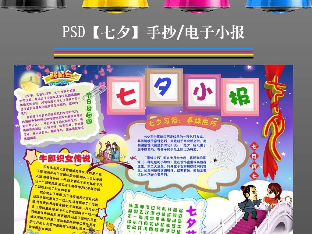 手抄报|小报 节日手抄报 其他 > 七夕节文化小报中国传统节日读书手抄