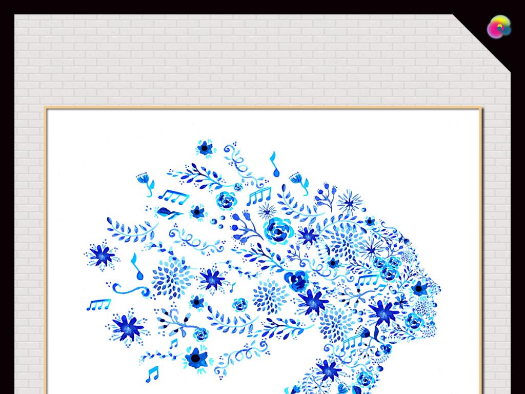 艺术油画手绘复古手绘复古植物花卉藤蔓水彩画中国风手绘复古花手绘
