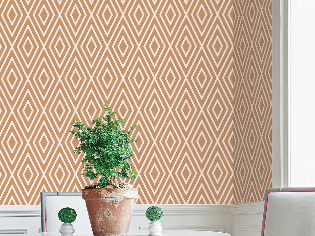 菱形格子手绘简单图案几何图形欧式墙纸