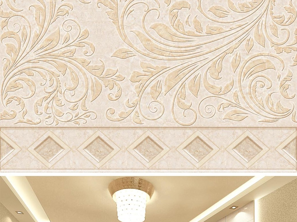 欧式石材花纹玉石拼花3d地板地砖图片