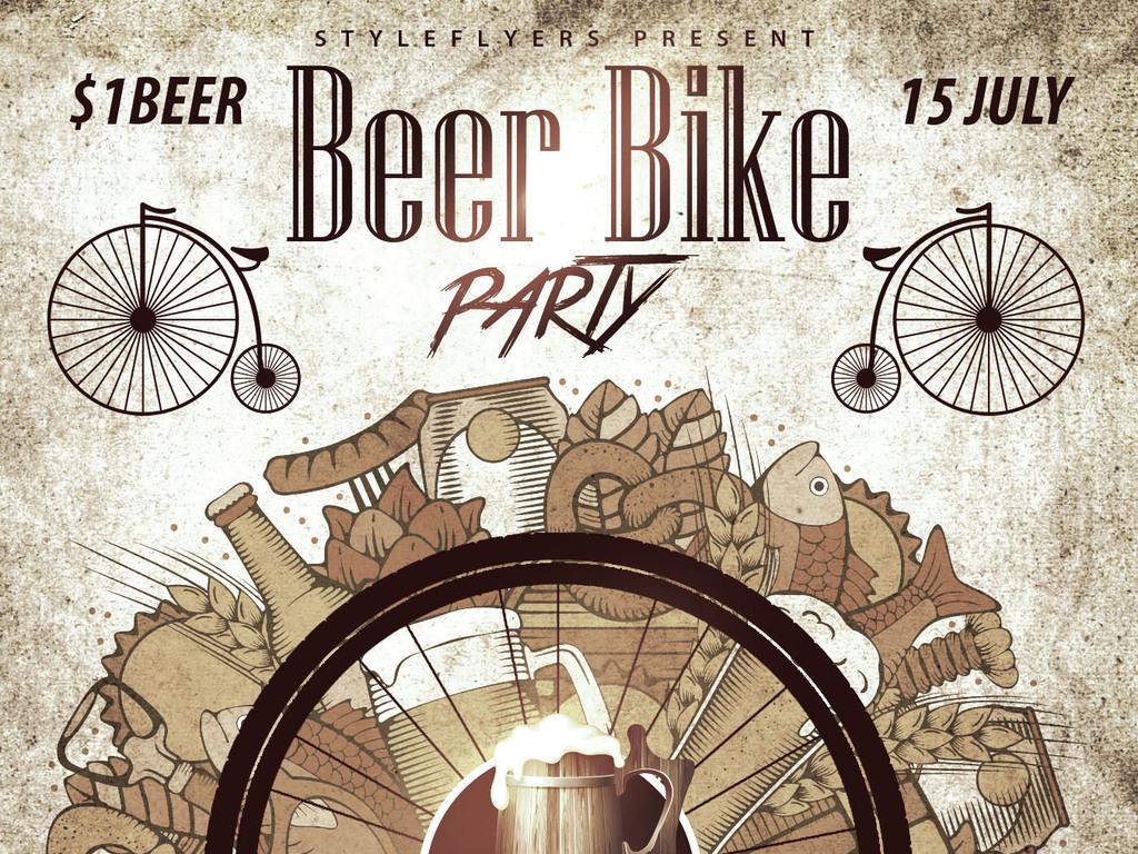 复古文艺手绘插画烧烤啤酒节创意宣传海报