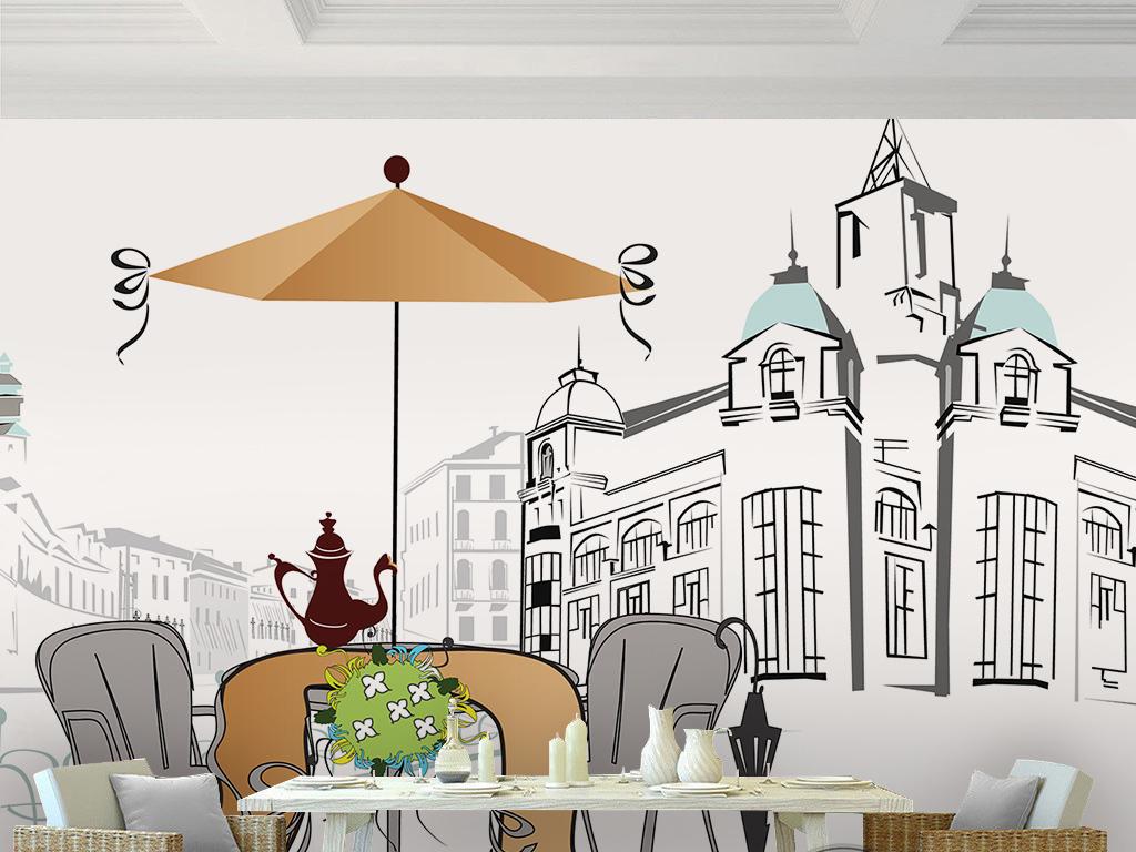 手绘城市建筑简约绘画街道咖啡馆欧式墙纸