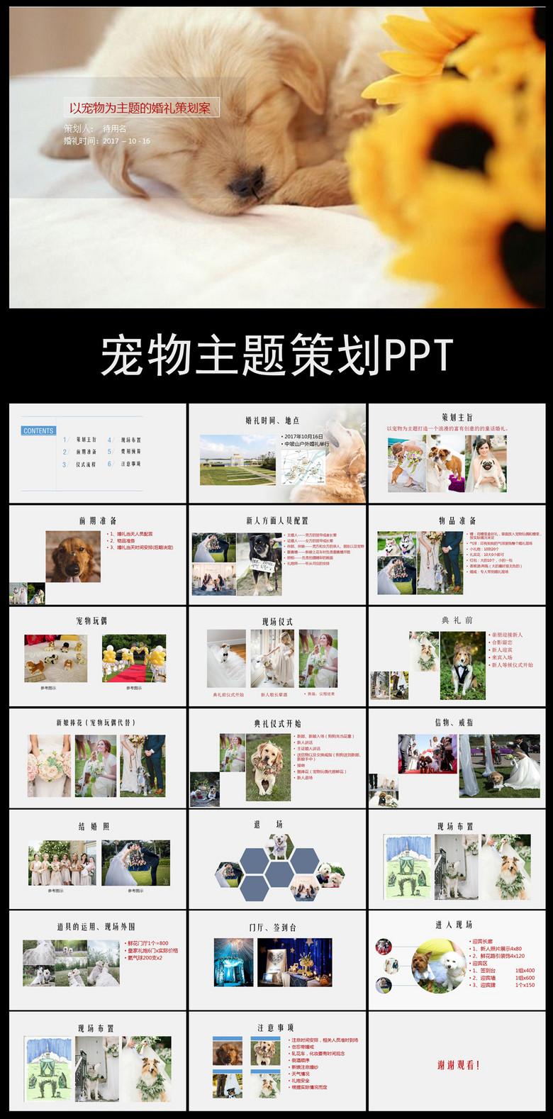 宠物情缘婚礼策划PPT模板