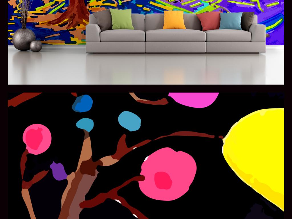 背景墙|装饰画 电视背景墙 手绘电视背景墙 > 手绘水彩风格涂鸦艺术
