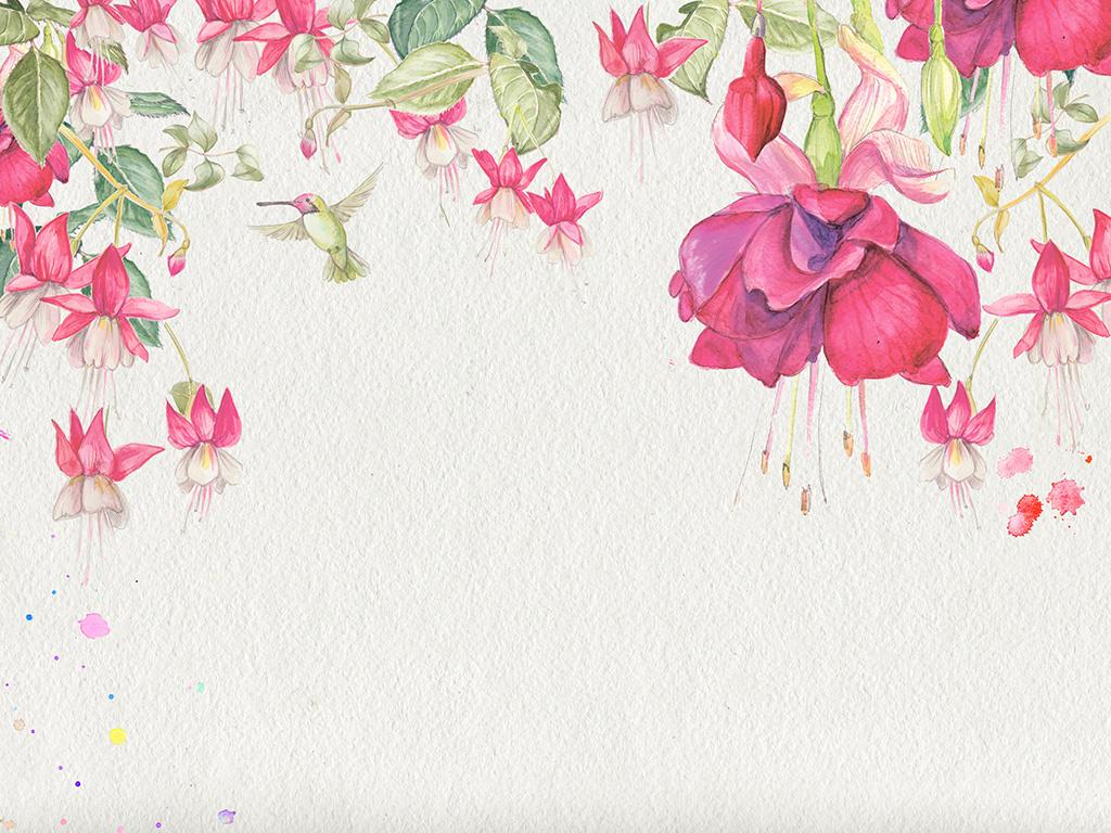 手绘水彩花卉背景墙