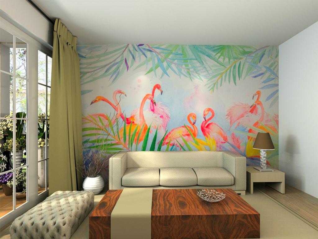 火烈鸟手绘墙纸壁画矢量图