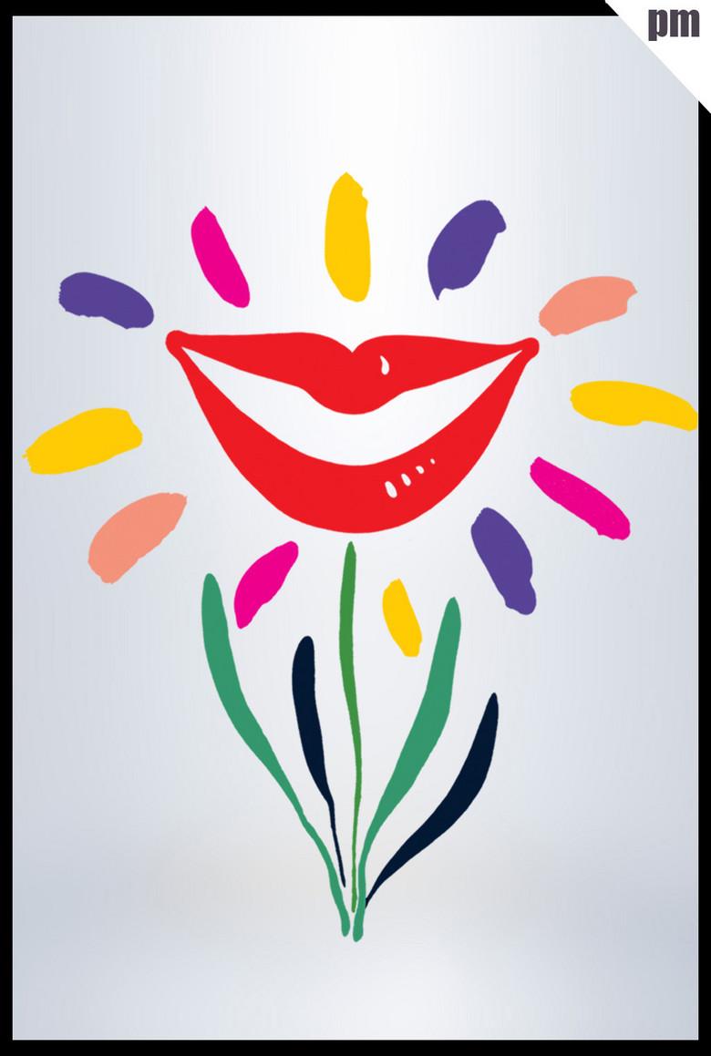 简单手绘花朵笑脸服务宣传素材图