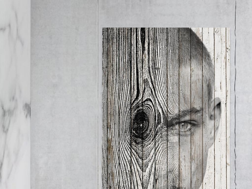 超现实幻想风木板艺术人像玄关挂画装饰画