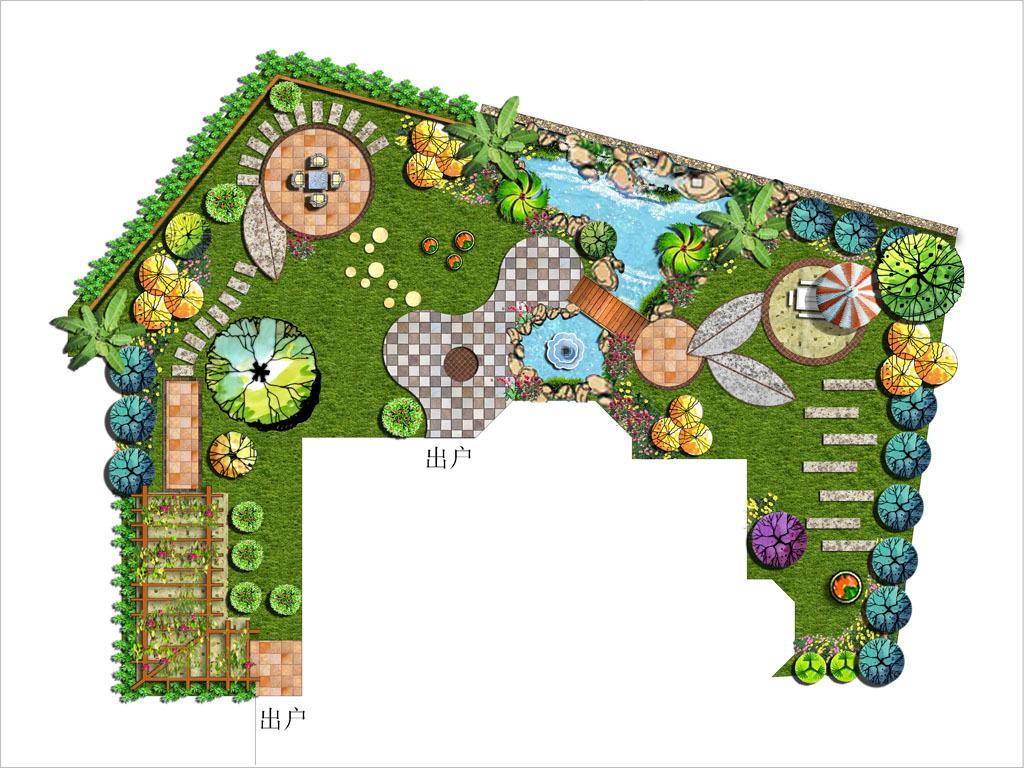花园设计别墅私家花园设计psd分层平面图