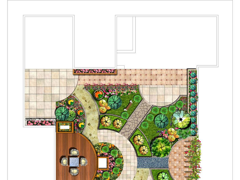 屋顶花园设计平面图psd分层素材