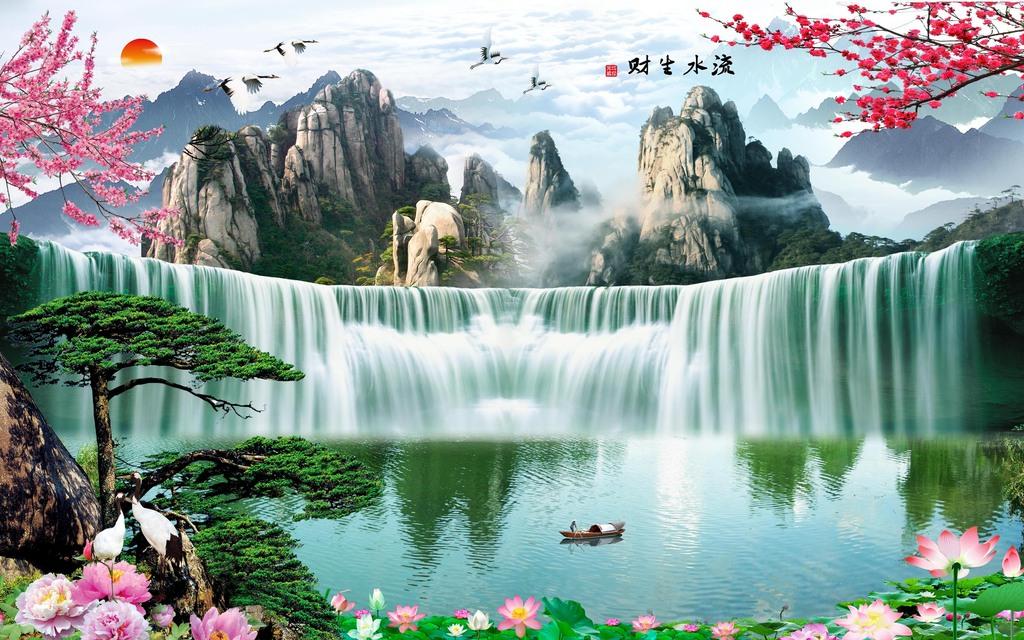 山水风景画财源滚滚流水生财背景墙图片