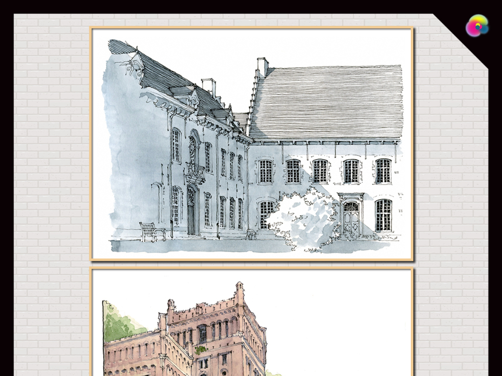 手绘水彩欧式建筑电视背景墙无框画插画