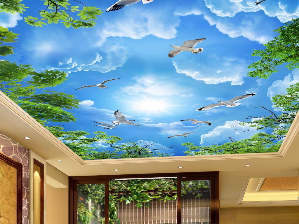 作品模板源文件可以编辑替换,设计作品简介: 大气唯美蓝天白云绿叶