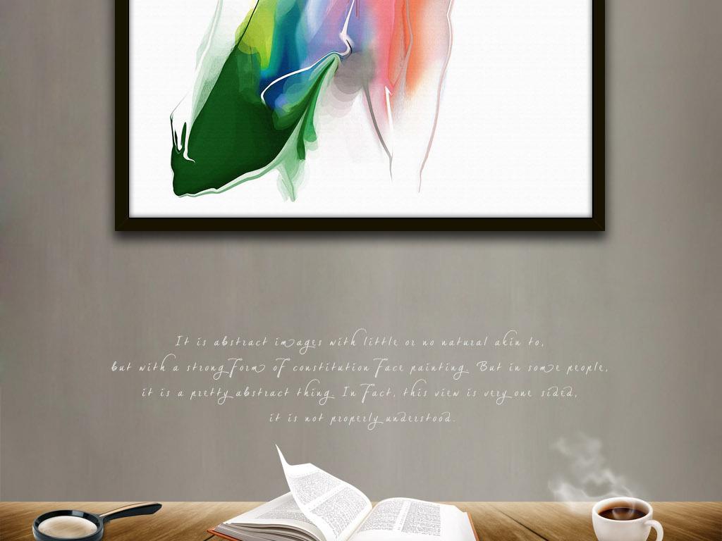 迷离眼神美女手绘水彩画现代简约欧式装饰画