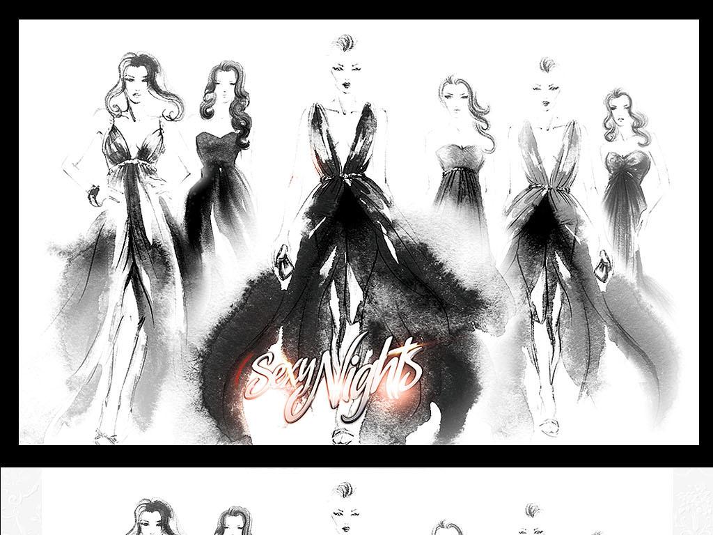 时装画礼服效果图手绘稿时装发布会服装