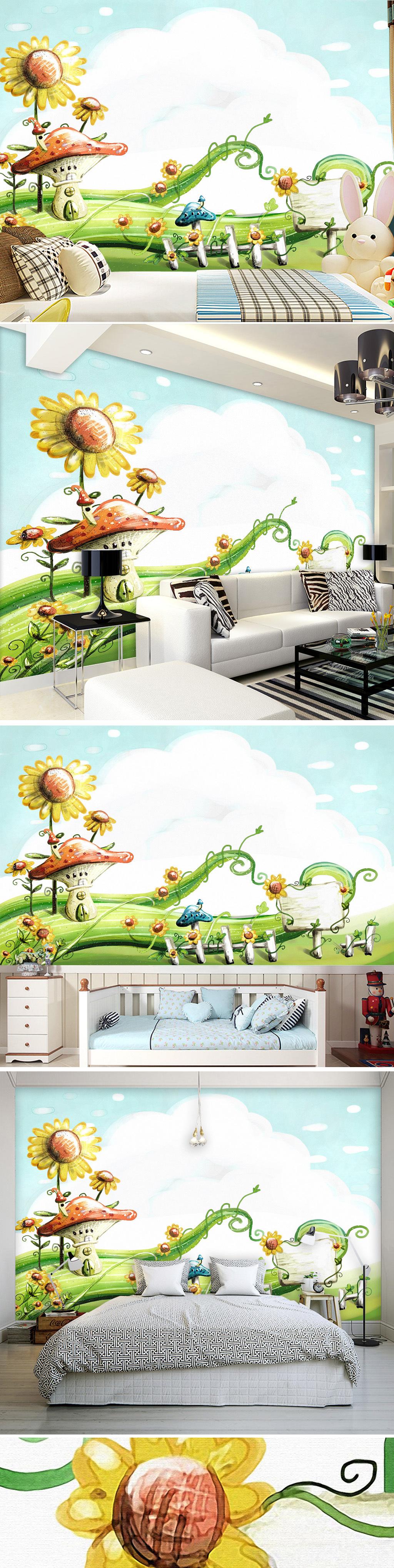 绿色小清新蘑菇花园韩版手绘客厅背景.