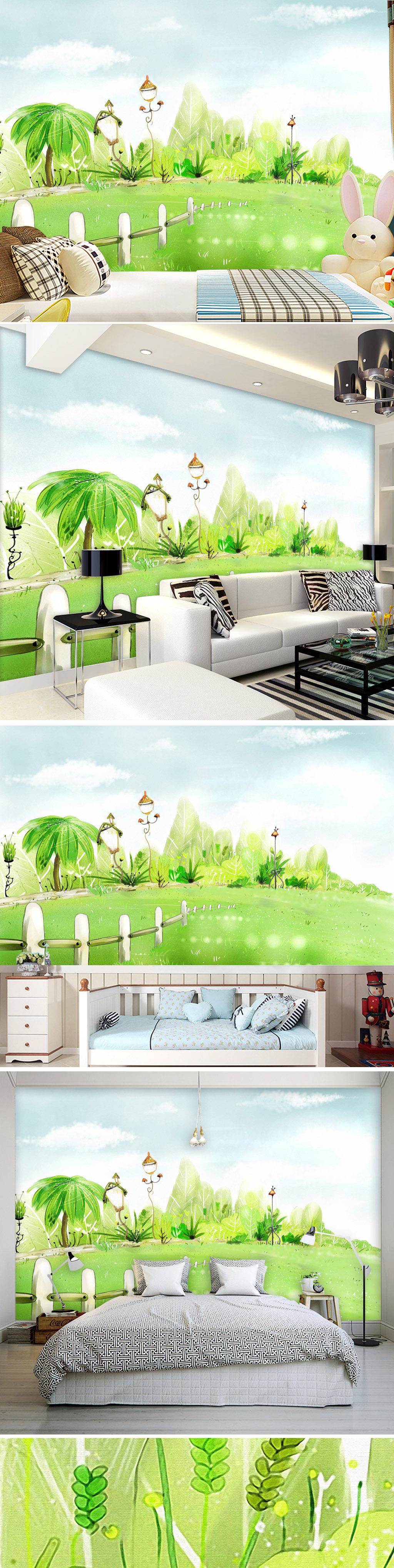 背景墙|装饰画 电视背景墙 手绘电视背景墙 > 青青草地手绘唯美韩版