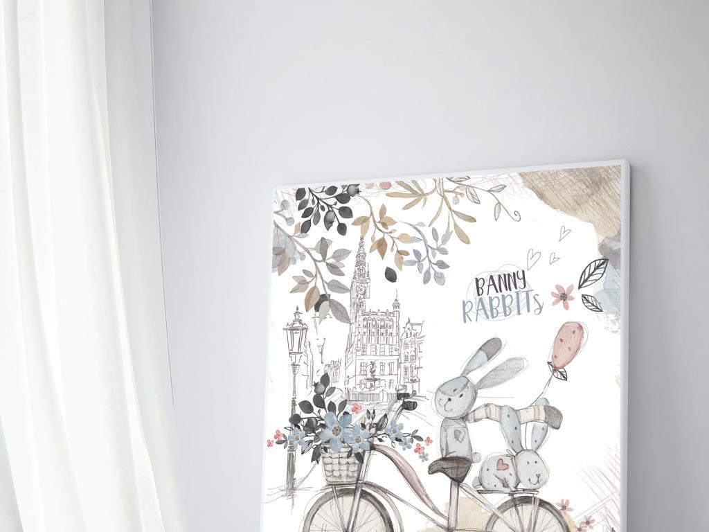 手绘水彩兔子装饰画