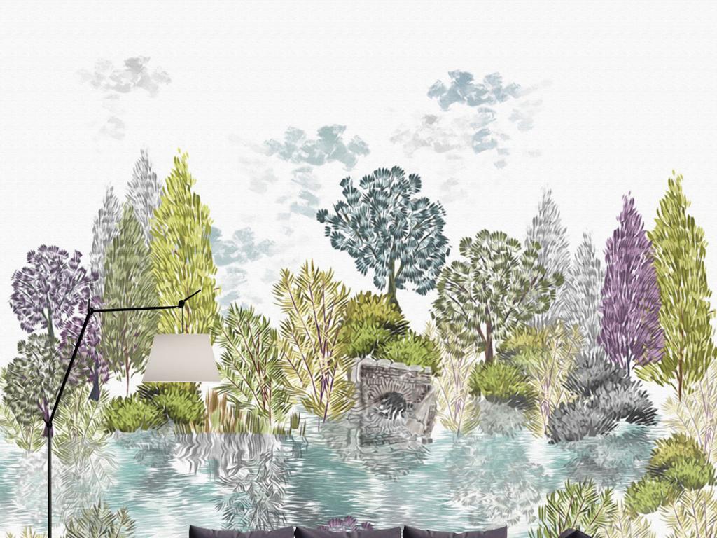 欧式彩色手绘树林速写风景水池壁画背景墙