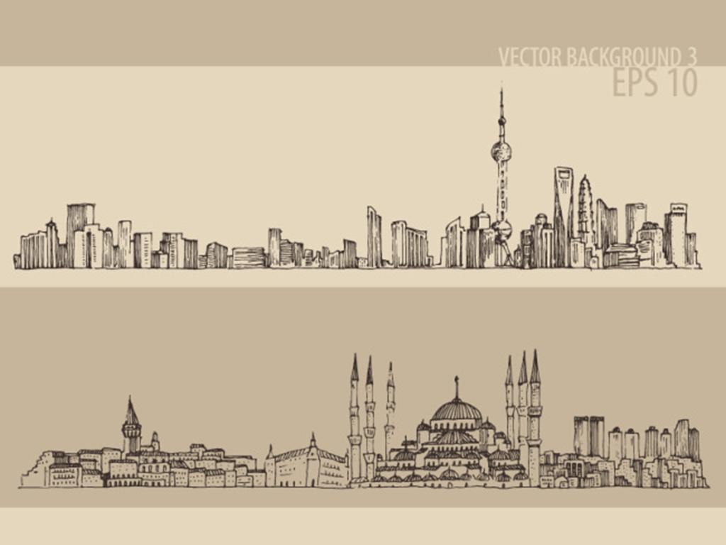 城市标志世界建筑矢量手绘素描线描风景建筑旅游景点伦敦巴黎