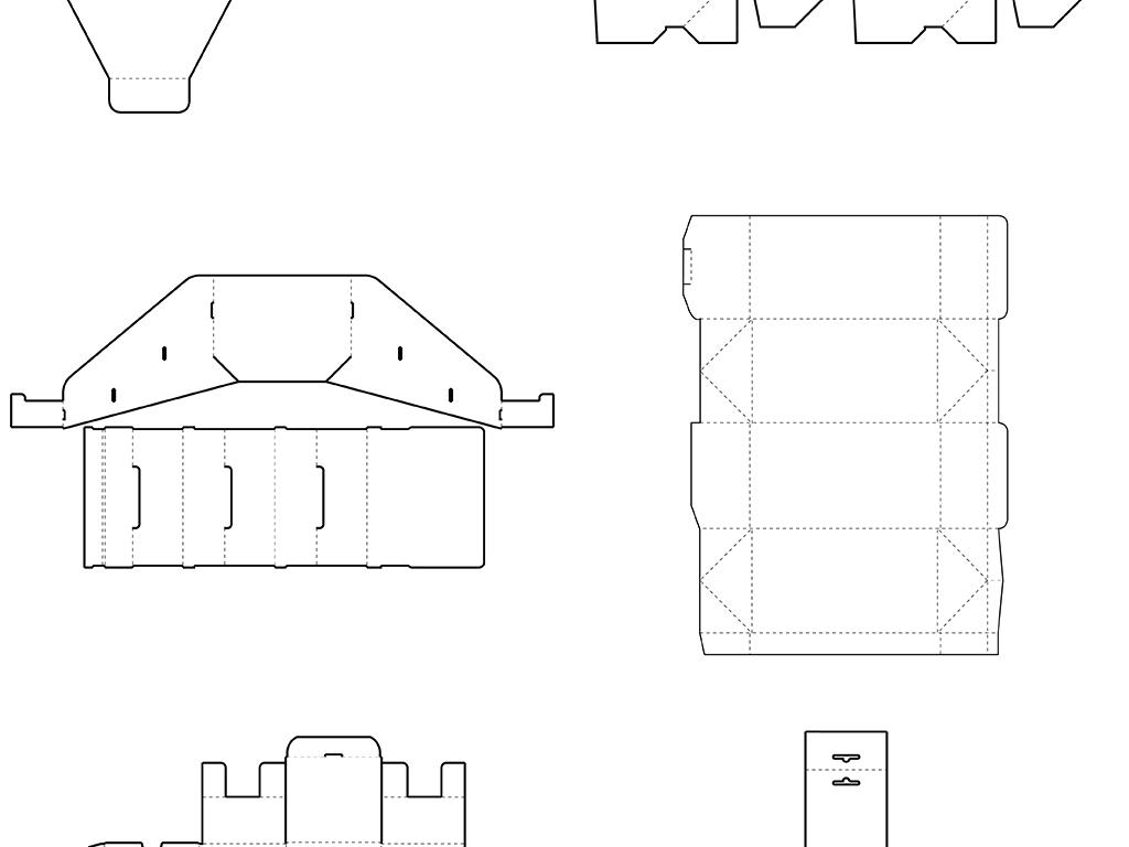 线稿图平面图展开图平面设计vi模板异形包装纸盒