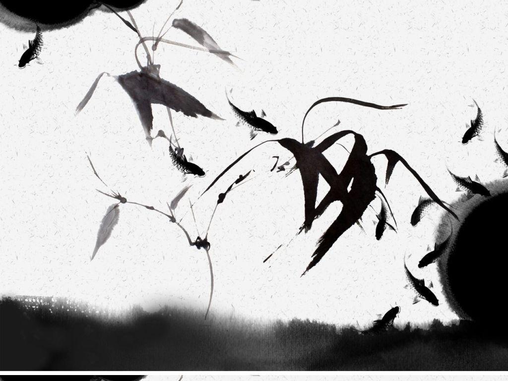 新中式黑白水墨画壁纸日式竹叶意境