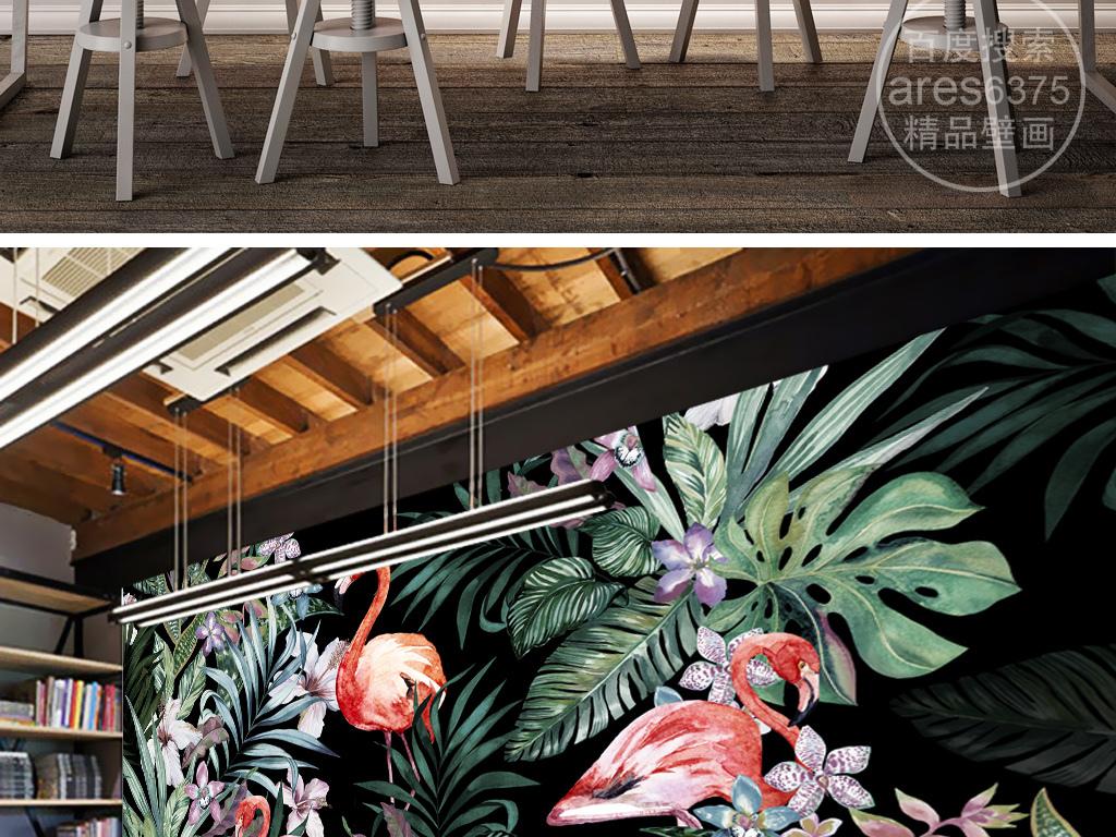 手绘欧式田园火烈鸟热带雨林东南亚壁画背景