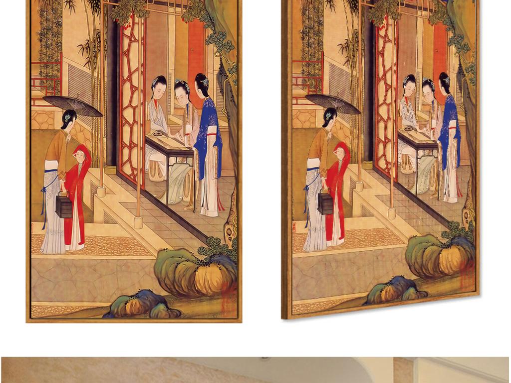 古典工笔手绘仕女图装饰画