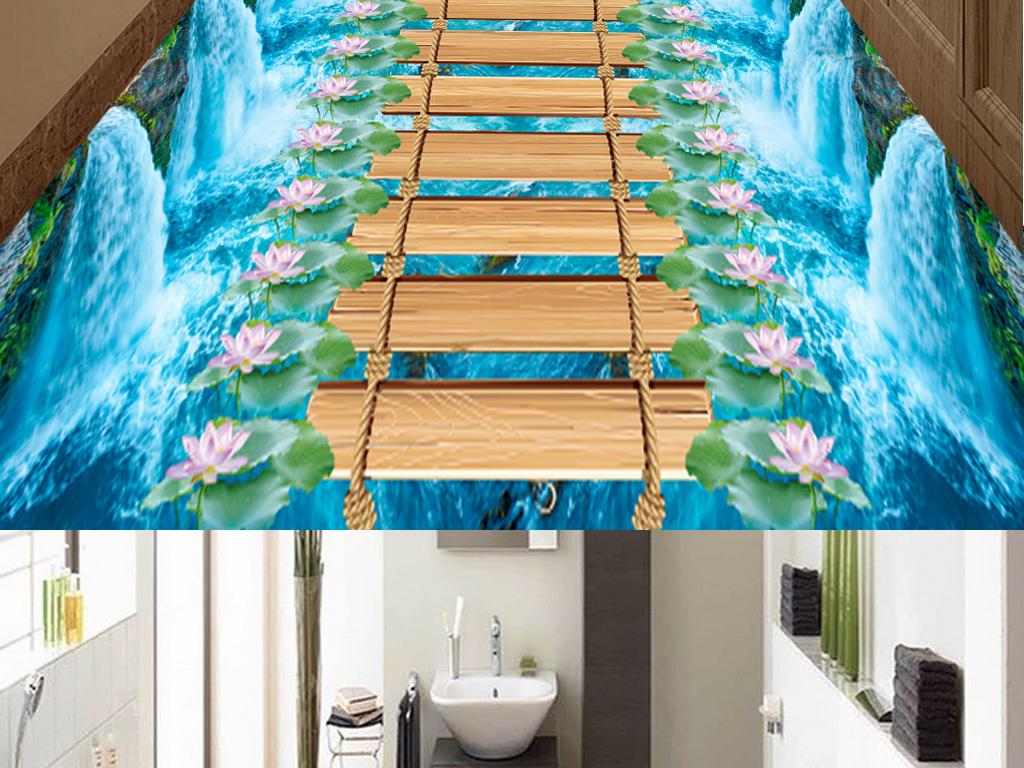 桥荷花浴室厨房3D地板地砖