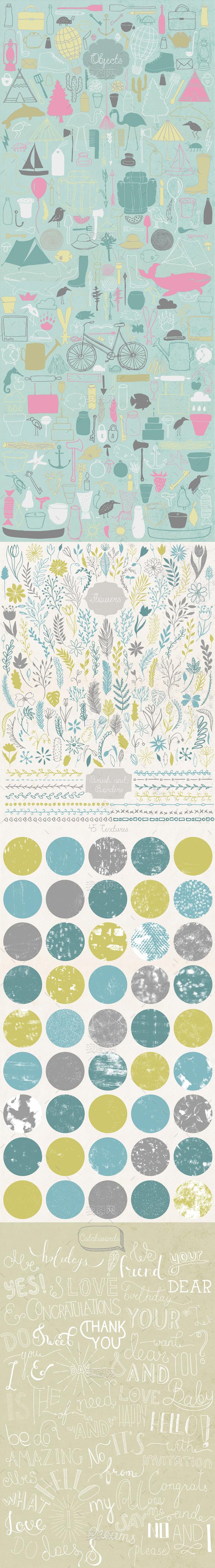 高端手绘花纹图案边框水彩背景设计元素合集