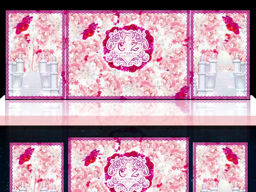 psd)粉色水彩手绘牡丹花卉主题婚礼舞台背景设计城堡花墙粉色花海韩式