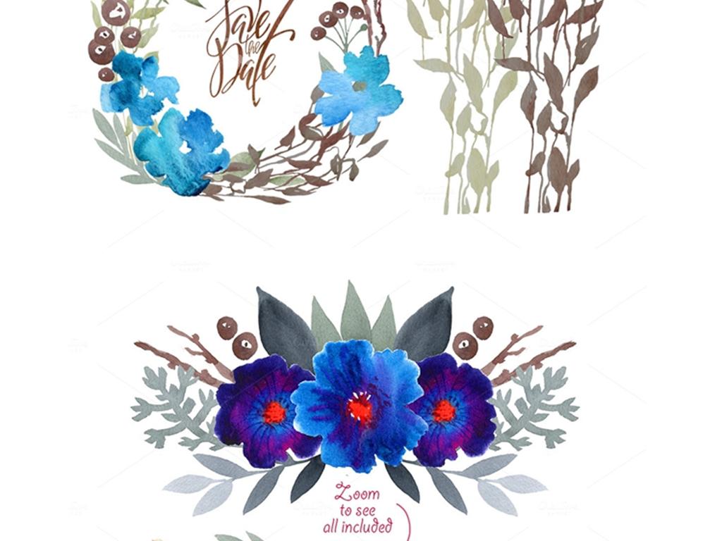 蓝色系水墨晕染手绘花卉png免扣素材合集
