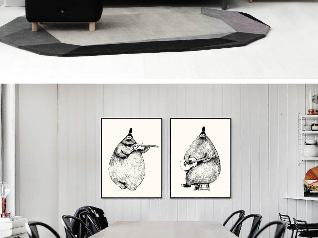 背景墙|装饰画 无框画 动物图案无框画 > 现代简约黑白手绘线描熊猫图片