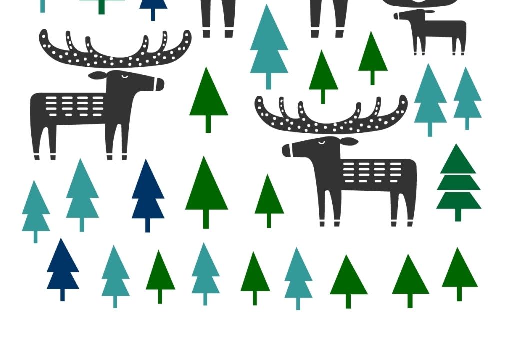 北欧风格插画小鹿麋鹿硅藻泥图案图片