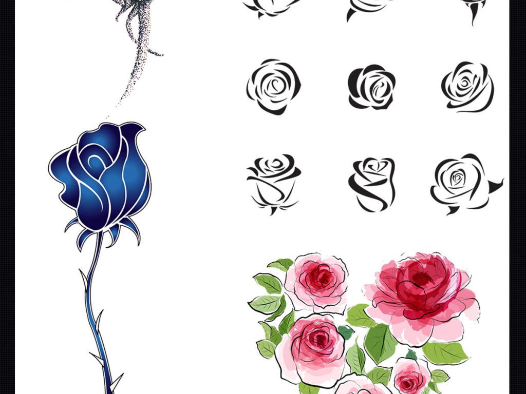 婚庆手绘水彩花卉矢量背景图手绘植物玫瑰花手绘插画