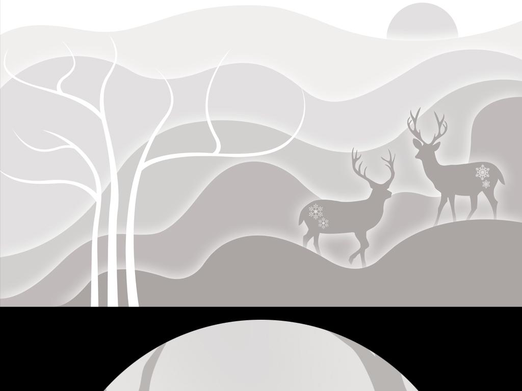 手绘梦幻背景梦幻图片黑白画小鹿抽象艺术电视背景墙